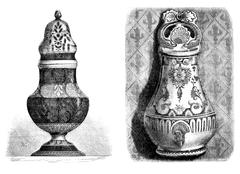 Faience from Rouen. Fontaine applies; Painted, Sugar, a yellow ocher decor. - Stock Illustration