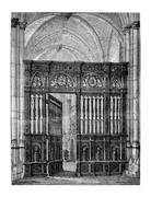 Closing of the choir (oak) of the Cathedral of Lisieux. - Drawing Catenacci,  Stock Illustration