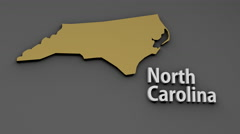 4K North Carolina USA State Shape and Title Minimal Design with Matte 1 Stock Footage