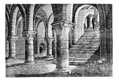 Underground the tithe barn, a Provins (Seine-et-Marne), vintage engraving. Stock Illustration