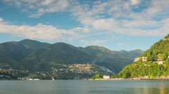 Summer day como lake mountain town villas bay panorama 4k time lapse italy Stock Footage