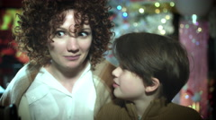 4k Christmas and New Year Holiday Mom and Child at Fireplace Posing  Happy Stock Footage