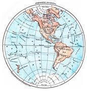 Earth, Western Hemisphere, vintage engraving. Stock Illustration