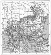 Map of Turkey, Bulgaria, Serbia, Romania and Montenegro, vintage engraving Stock Illustration