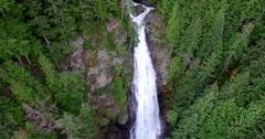 Aerial Shot Looking Down at Huge Waterfall Stock Footage