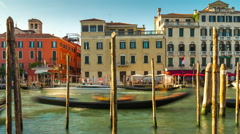 Day venice canal traffic boat park side bay panorama 4k time lapse italy Stock Footage