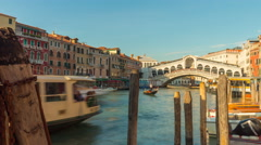 Sun day rialto bridge traffic canal bay panorama 4k time lapse venice italy Stock Footage