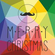 Holidays vector card with hipster mustache, hearts and Merry Christmas wishes Stock Illustration