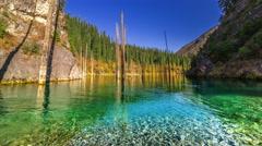 Kaindy Lake in autumn in mountains Kazakhstan. 4K TimeLapse - September 2016 Stock Footage