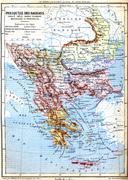 The map of Balkan Peninsula (Turkey, Greece, Serbia, Romania and Montenegro) Stock Illustration