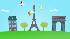 Animation of Paris. Eiffel tower, triumph arch and air baloons Stock Footage