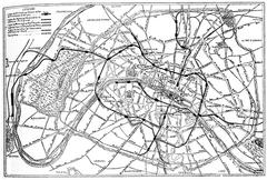 Map of Paris metropolitan railway project, vintage engraving. Stock Illustration