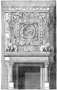 Fireplace in the king's apartments in the castle of Fontainebleau, vintage en Stock Illustration