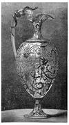 Rock crystal ewer, Froment Meurice, vintage engraving. Stock Illustration