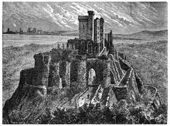 Arques castle ruins with its keep, vintage engraving. Stock Illustration