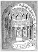 Tomb of Abbas II (seventeenth century), in Isfahan, vintage engraving. Stock Illustration