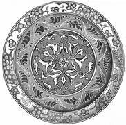Earthenware dish (seventeenth century), vintage engraving. Stock Illustration