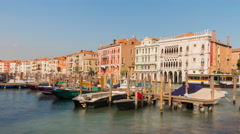 Day venice boat parking market bay panorama 4k time lapse italy Stock Footage