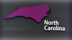 4K North Carolina USA State Shape and Title Minimal Design with Matte 2 Stock Footage