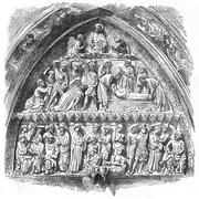 History of Saint-Etienne, lateral portal tympanum of Notre-Dame Cathedral, vi Stock Illustration