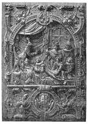 Low relief of a French chest of the sixteenth century. Coronation of Henry of Stock Illustration