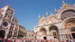 Day venice san marko basilica square clocktower panorama 4k time lapse italy Stock Footage