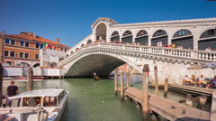 Venice rialto bridge grand canal bay side panorama 4k time lapse italy Stock Footage
