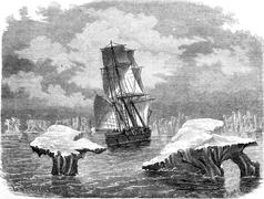 The corvette research in ice, vintage engraving. Stock Illustration