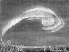 Appearance of the aurora borealis in south in evening, Bossekop (Finnmark), v Stock Illustration