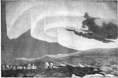 Appearance of the aurora borealis in the north-east, Bossekop (Finnmark), vin Stock Illustration