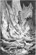 Collapse of ice, vintage engraving. Stock Illustration