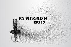Paint brushes from particles. Paint brushes in a glass scattered on the circl Stock Illustration