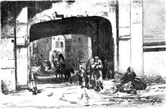 One of the gates of the port, the Sandpforte (door Sable), vintage engraving. Stock Illustration