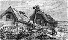 Cross at the entrance of a Lithuanian village, vintage engraving. Stock Illustration
