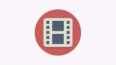 8K - Film icon symbol round logo Stock Footage