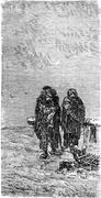 In the snow by roadside, vintage engraving. Stock Illustration