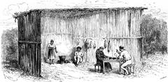 Kitchen and dining room of the mission of Tierra Blanca, vintage engraving. Stock Illustration