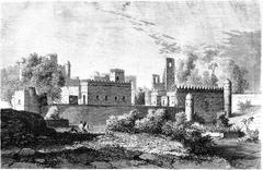 The Imperial Palace in Gondar, vintage engraving. Stock Illustration