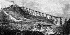 A coal mine in Swansea, vintage engraving. Stock Illustration