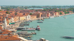 Day san marco campanile view point venice bay panorama 4k time lapse italy Stock Footage
