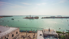 San marco campanile palazzo ducale bay panorama 4k time lapse venice italy Stock Footage