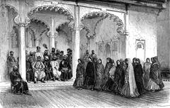The assistant has a nautch in Maharana Palace Jag Niwas, vintage engraving Stock Illustration