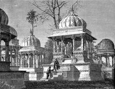 Tombs of the Kings at Maha Sati Ahar, in Udaipur, vintage engraving Stock Illustration