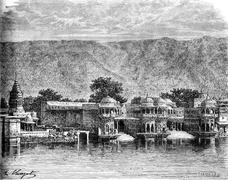 Sacred Pushkar Lake, vintage engraving Stock Illustration
