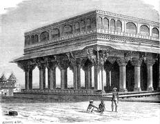 The Diwan Khana, Assembly Hall, the Amber Palace, vintage engraving. Stock Illustration