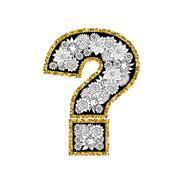 Hand drawn alphabet design. Figure question mark. Gold glittering contour Stock Illustration