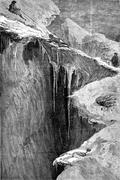 A bergschrund the Dent Blanche, vintage engraving. Stock Illustration