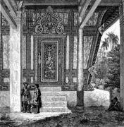 Entrance to the pagoda-shaped tomb, vintage engraving. Stock Illustration