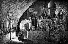 Sanctuary of the Pak Ou cave, (View from the back of the cave), vintage engra Stock Illustration