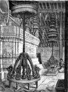 Umbrellas storey pagoda inside Laos, vintage engraving. Stock Illustration